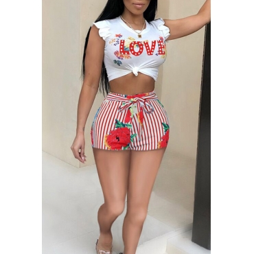 Lovely Casual Round Neck Letter Floral Red Polyester Two-piece Shorts Set