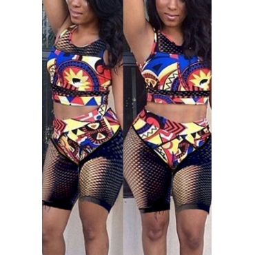 Lovely Chic Round Neck Mesh Hollow-out Printing Black Polyester Two-piece Swimwears