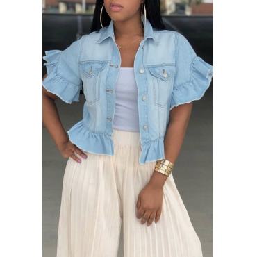 Lovely Trendy Turndown Collar Short Sleeves Single Breasted Baby Blue Denim Coat