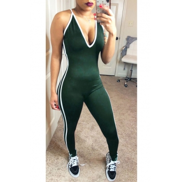 Lovely Leisure V Neck Striped Green Spandex One-piece Jumpsuits
