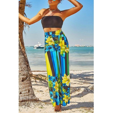 Lovely Trendy High Waist Printed Blue Polyester Pants