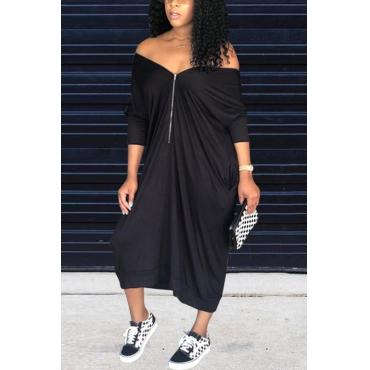 Lovely Casual V Neck Batwing Sleeves Zipper Design Black Blending Mid Calf Dress