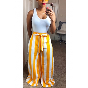 Lovely Fashion High Waist Striped Yellow Polyester Pants