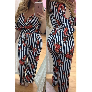 Lovely Polyester Sexy Striped Regular Regular Jumpsuit