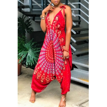 Lovely Bohemian V Neck Printing Red Qmilch One-piece Jumpsuits