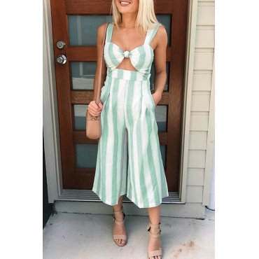 Lovely Street V Neck Striped Green Polyester One-piece Jumpsuits