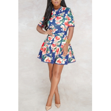Lovely Sexy Printed Hollow-out Blue Qmilch Mini Dress