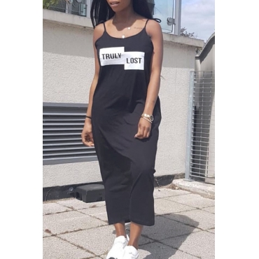 Lovely Casual Round Neck Letter Printed Black Polyester Mid Calf Dress