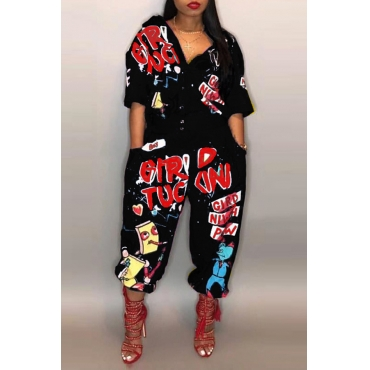 Lovely Euramerican Cartoon Printing Black Polyester One-piece Jumpsuits