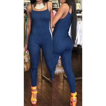 Lovely Fashion Spaghetti Strap Sleeveless Deep Blue Denim One-piece Jumpsuits