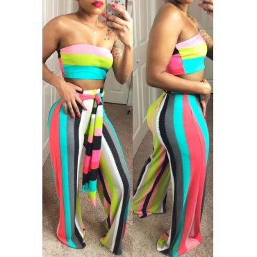 Lovely Fashion Bateau Neck Striped Printing Polyester Two-piece Pants Set