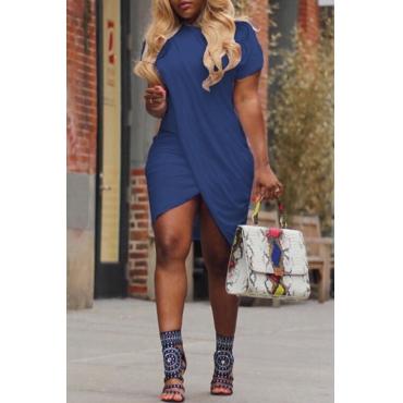 LovelyCasual Round Neck Irregular Blue Polyester Mini Dress