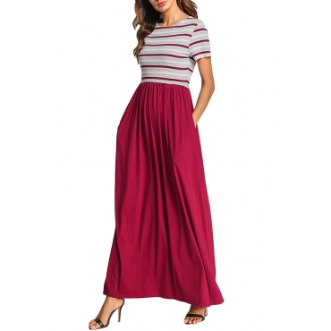 Lovely Casual Round Neck Striped Patchwork Red Blending Ankle Length Dress