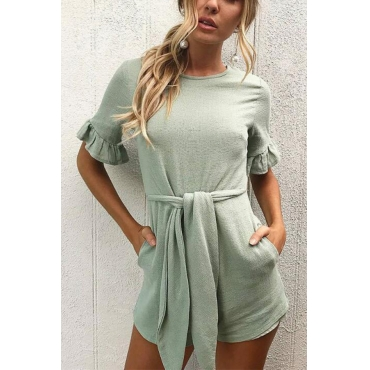 Lovely Casual Round Neck Bandage Light Green Polyester One-piece Romper