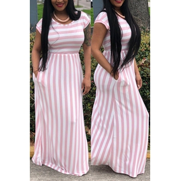 Lovely Fashion Round Neck Striped Pink Cotton Blends Floor Length Dress