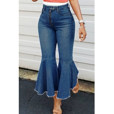 Lovely Fashion High Waist Blue Denim Zipped Jeans