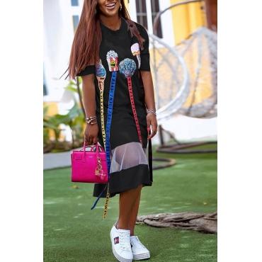 Lovely Euramerican Short Sleeves Patchwork Black Blending Knee Length Dress