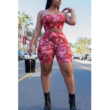 LovelyCasual Dew Shoulder Camouflage Printed Pink Polyester Two-piece Shorts Set