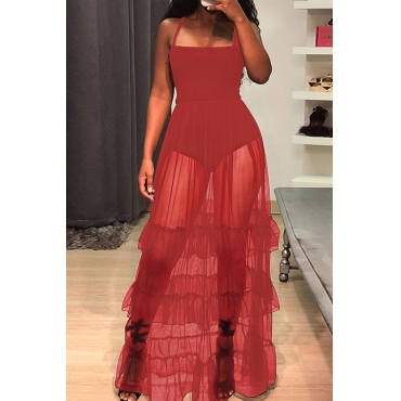 Lovely Trendy Spaghetti Strap Sleeveless See-Through Flounce Red Cotton Blend Floor Length Dress