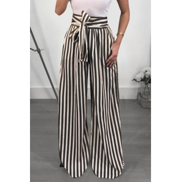 Lovely Trendy High Waist Striped Black Polyester Pants