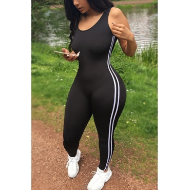 LovelyLeisure U-shaped Neck Sleeveless Patchwork Black Qmilch One-piece Skinny Jumpsuits