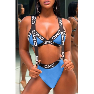 Lovely Casual Letter Printed Black Polyester Two-piece Swimwears