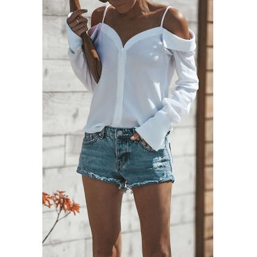 Lovely Casual Dew Shoulder Buttons White Polyester Shirts