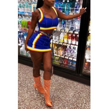LovelyEuramerican U Neck Patchwork Blue Denim Two-piece Skirt Set