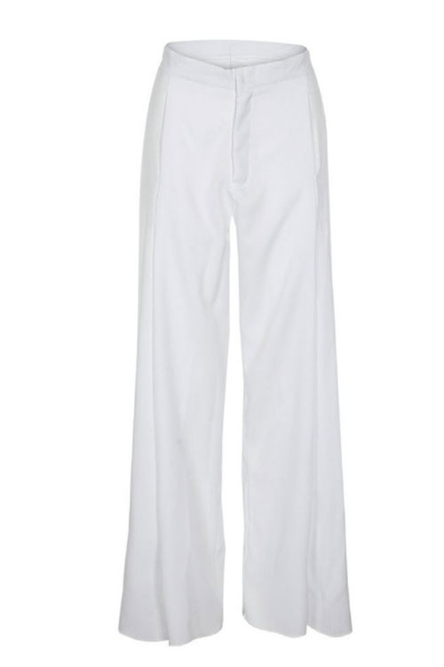 Lovely Trendy High Waist White Polyester Pants