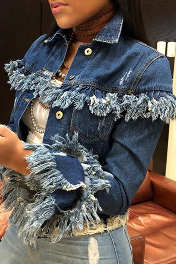 Lovely Denim Casual Regular Long Sleeve Coat&Jacket