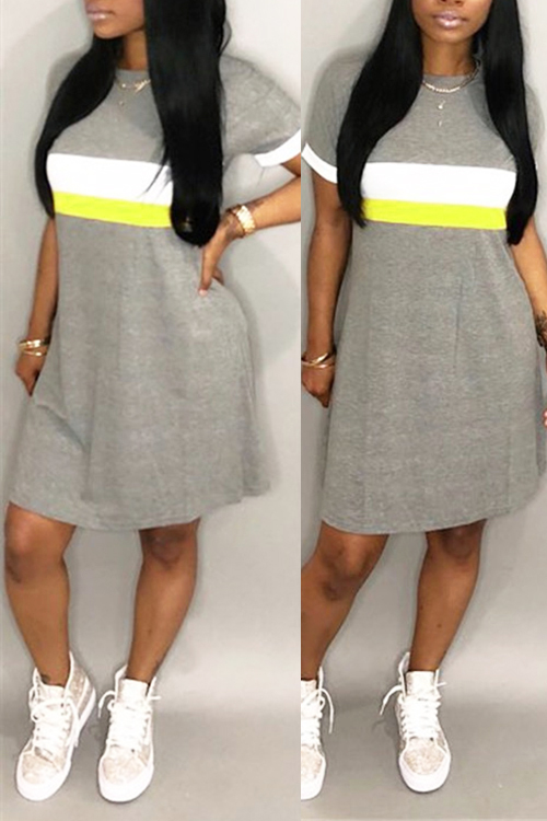 LovelyFashion Round Neck Patchwork Light Grey Blending Mini Dress