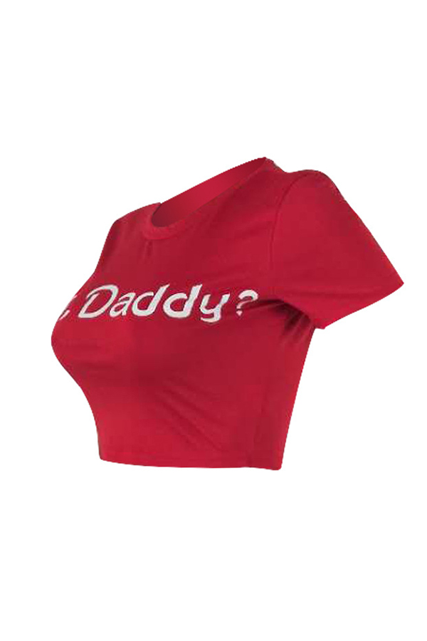 Lovely Street Round Neck Letter Printed Red T-shirt