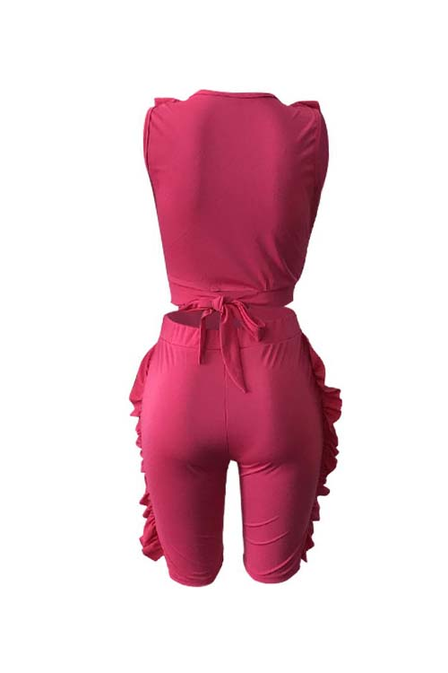 Lovely Sexy V Neck Ruffle Rose Red Twilled Satin Summer Two-piece Shorts Set