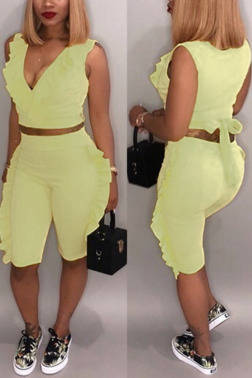 Lovely Sexy V Neck Ruffle Yellow Twilled Satin Summer Two-piece Shorts Set