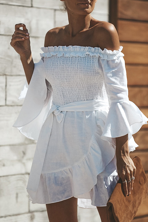 Lovely Fashion Bateau Neck Flounce Irregular White Cotton Blends Mini Dress
