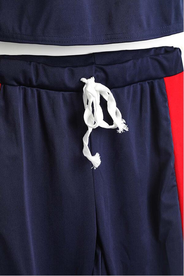 LovelyBlue Polyester Pants Plain O neck Short Sleeve Fashion Two Pieces