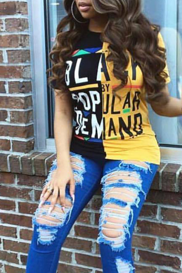 LovelyStreet Round Neck Letter Printed Black+Yellow Patchwork T-shirt
