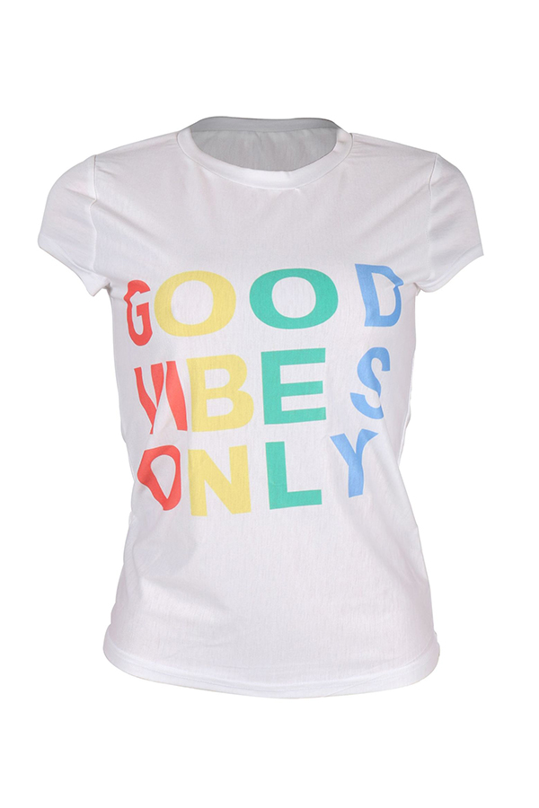 Lovely Leisure Round Neck Letter Printed White Cotton Blends T-shirt