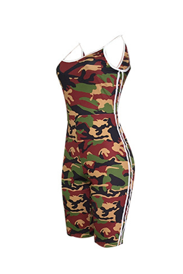 Lovely Sportswear U Neck Camouflage Printed Army Green Cotton Blends One-piece Romper