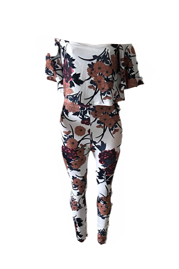 Lovely Sexy Bateau Neck Floral Printed White Cotton Blends One-piece Jumpsuits