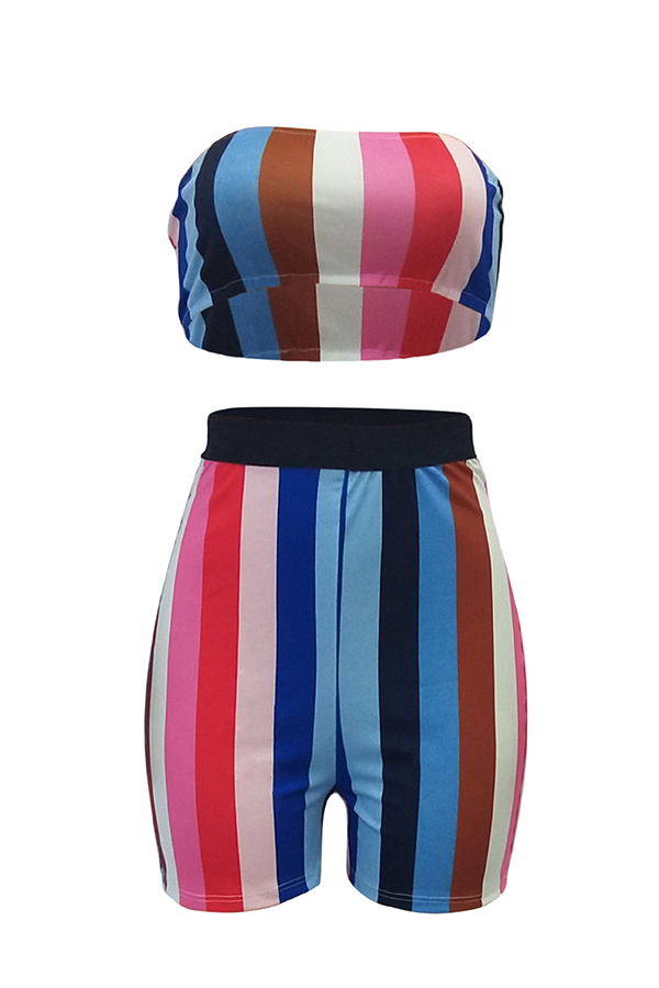 Lovely Sexy Bateau Neck Colorful Striped Polyester Two-piece Shorts Set