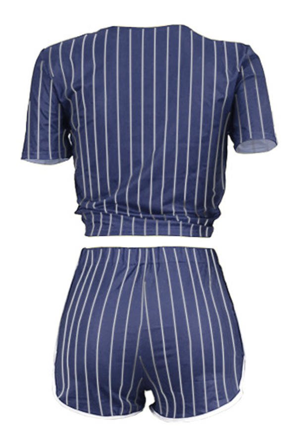 Lovely Casual V Neck Letter+Striped Printed Blue Qmilch Two-piece Shorts Set