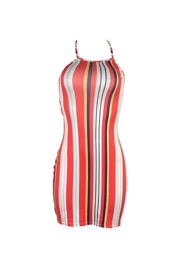 Lovely Fashion Halter Neck Striped Qmilch Sheath Mini Dress