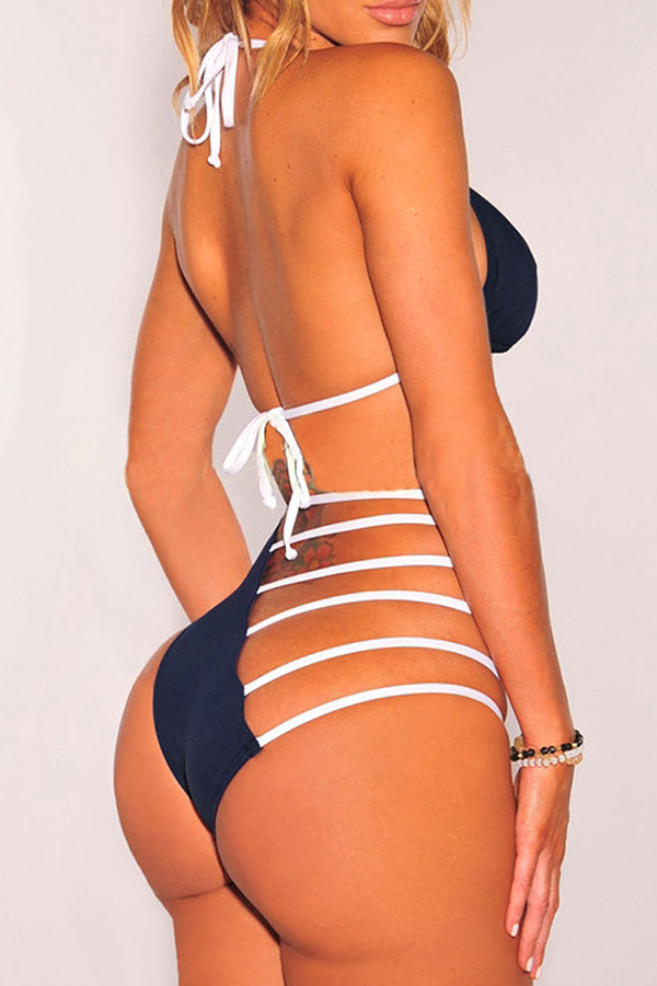 Lovely Chic Hollow-out Blue Two-piece Swimwears