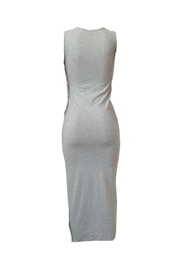Lovely Sexy U Neck Light Grey Cotton Blends Ankle Length Dress
