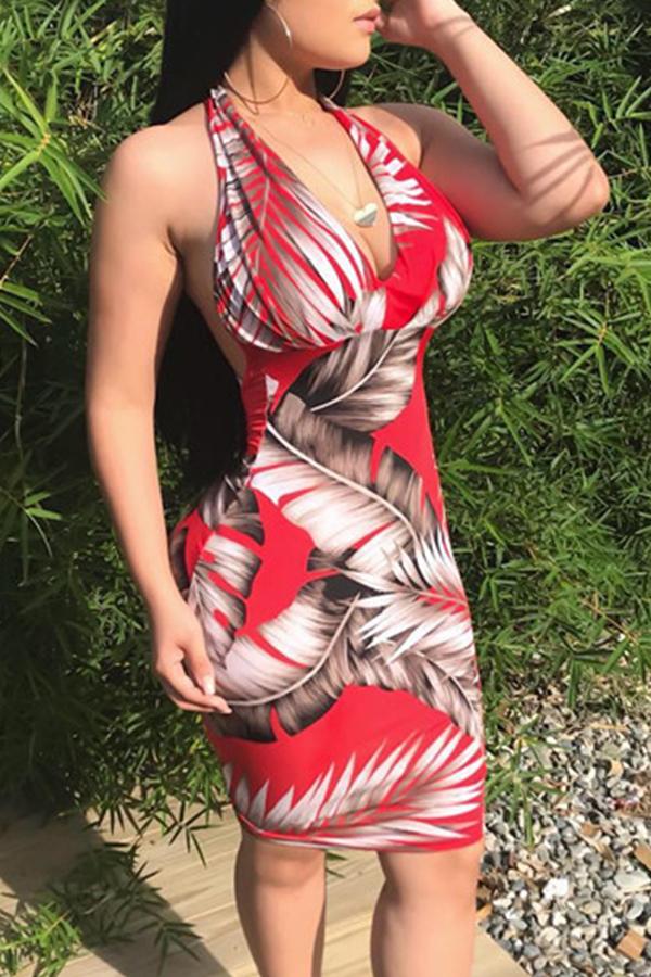 Lovely Sexy V Neck Leaf Printed Qmilch Knee Length Dress