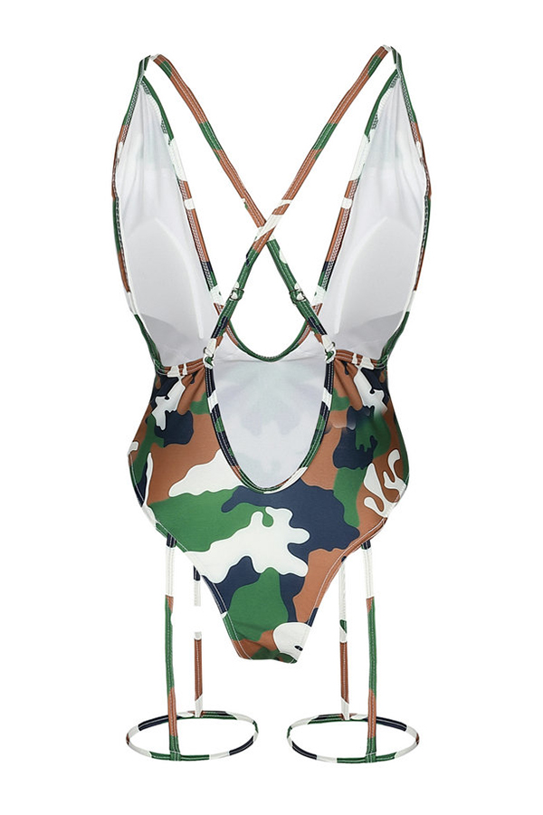 Lovely Fashion V Neck Camouflage One-piece Swimwears(Kind Prevail)
