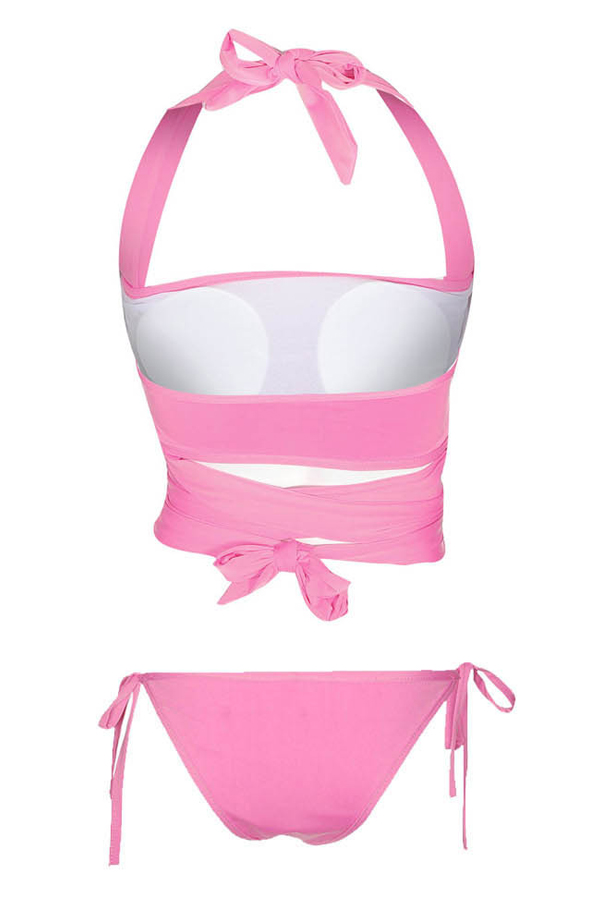 Lovely Chic Sequins Bandage Pink Two-piece Swimwears