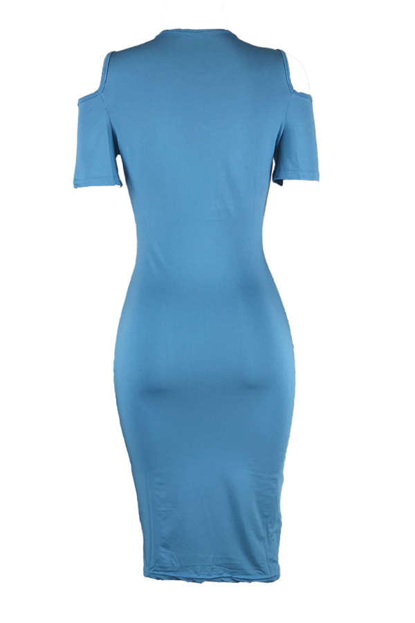 Lovely Casual Round Neck Cold-shoulder Baby Blue Qmilch Knee Length Dress