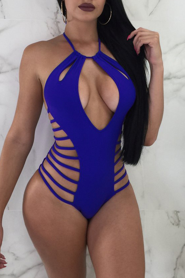 Lovely Sexy Hollow-out Blue Milk Fiber One-piece Swimwear